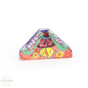 Talavera Napkin holder painted with orange blue and green designs