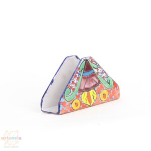triangle shaped Mexican napkin holder hand painted with colorful patterns