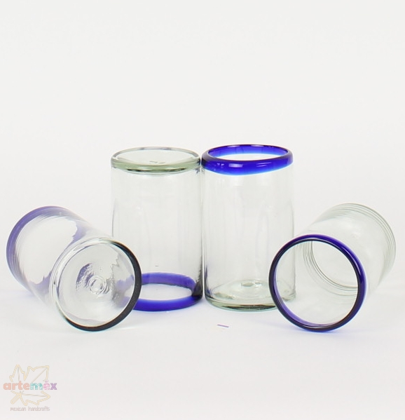 Mexican blue rimmed tumbler glasses displayed in a funky manner