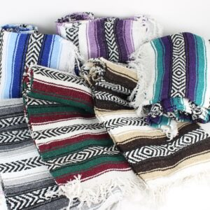 Mexican falsa blankets in an assortment of colors