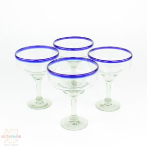 4 blue rimmed Mexican margarita glasses standing in a square shape