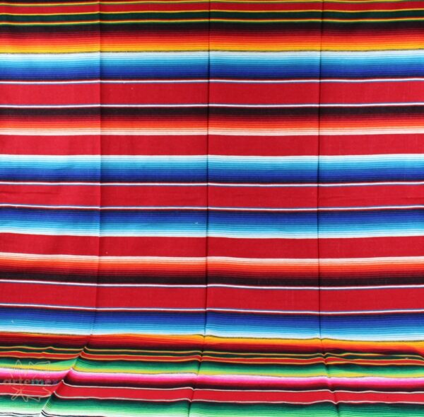 red mexican serape blanket fully extended showing the complete striped design with various colors